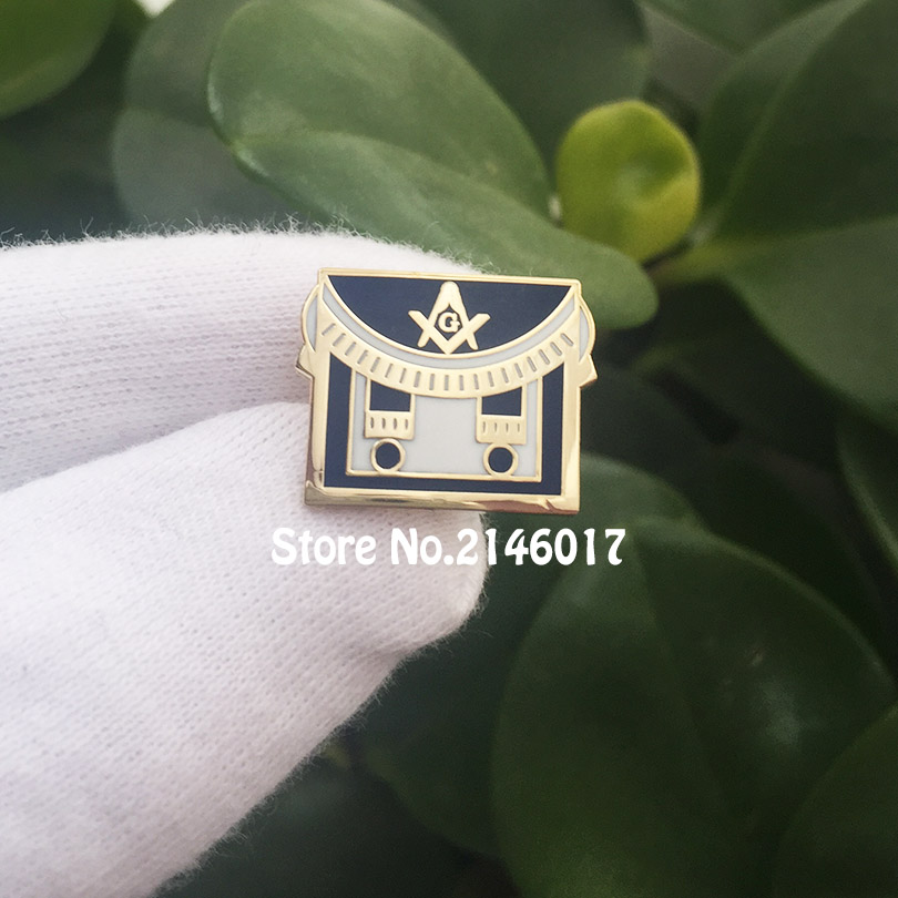 100pcs Mason Freemason Apron Custom Lapel Pins Square and Compass Free Masons Hard Enamel Pin Brooch