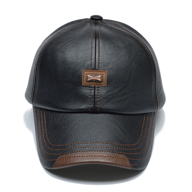 HTB1IJBDXp9gSKJjSspbq6zeNXXan - [NORTHWOOD] Brand Autumn Winter Leather Baseball Cap Men Women Gorras Planas Snapback Hat Bone Masculino PU Leather Trucker Cap
