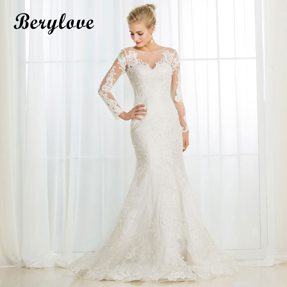 BeryLove Long Sleeves Mermaid Lace Wedding Dresses 2018 Illusion Wedding Dress China Women Styles Elegant Wedding Gowns Party