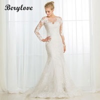 BeryLove Long Sleeves Mermaid Lace Wedding Dresses 2018 Illusion Wedding Dress China Women Styles Elegant Wedding Gowns Party