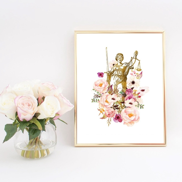Law Art Prints Poster , Lady Justice Canvas Painting Wall Picture Attorney Lawyer Gift Prints Lawyer Office Decor