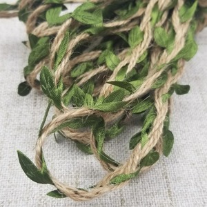Image 3 - 5M/lot Natural Hemp Ribbon Green Leaves Roll Vintage Rustic Wedding Decoration Box / Flowers Rope Mariage Wedding Party Supplies