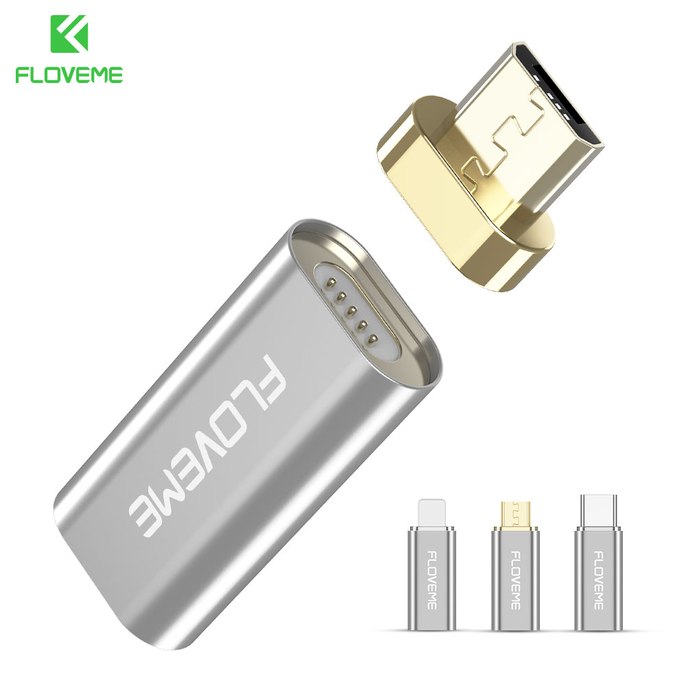 FLOVEME Magnetic USB Adapters For IPhone X 8 Travel Type C Micro Connectors For Sumsang LG Huawei Xiaomi Chargers Cables Adapter