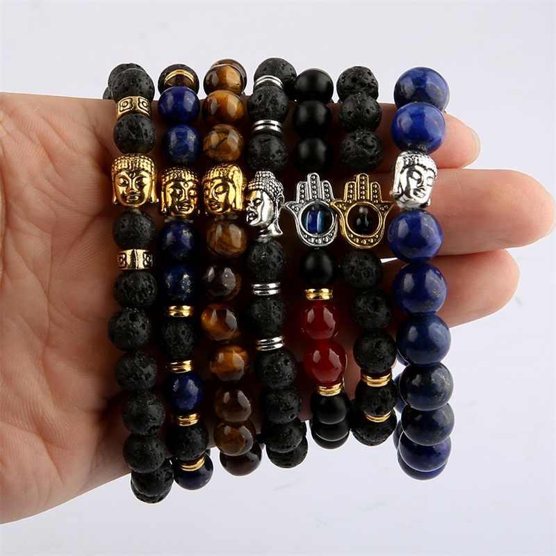 Phật Head Vòng Đối Với Phụ Nữ Lava Stone Bracelet Rope Chain Tiger Eye Bracelet Cho Nam Giới Trang Sức pulseras pulsera brazalete
