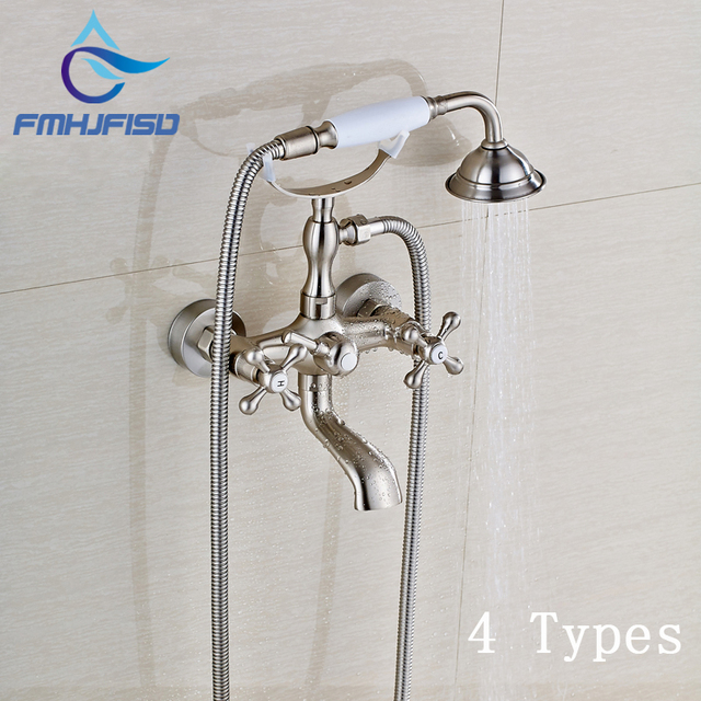 4 Types Bathtub Water Taps Wall Mounted Brushed Nickel Bathroom ...