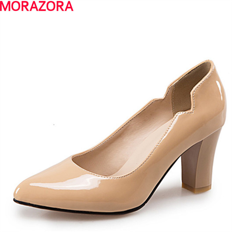 MORAZORA Fashion shoes simple women pumps shallow pointed toe high heels shoes party spring autumn single shoes big size 34-47 memunia 2017 fashion flock spring autumn single shoes women flats shoes solid pointed toe college style big size 34 47