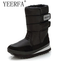 YEERFA Men Boots Black Mid Calf Winter Snow Boots High Quality Waterproof Non Slip Warm Winter