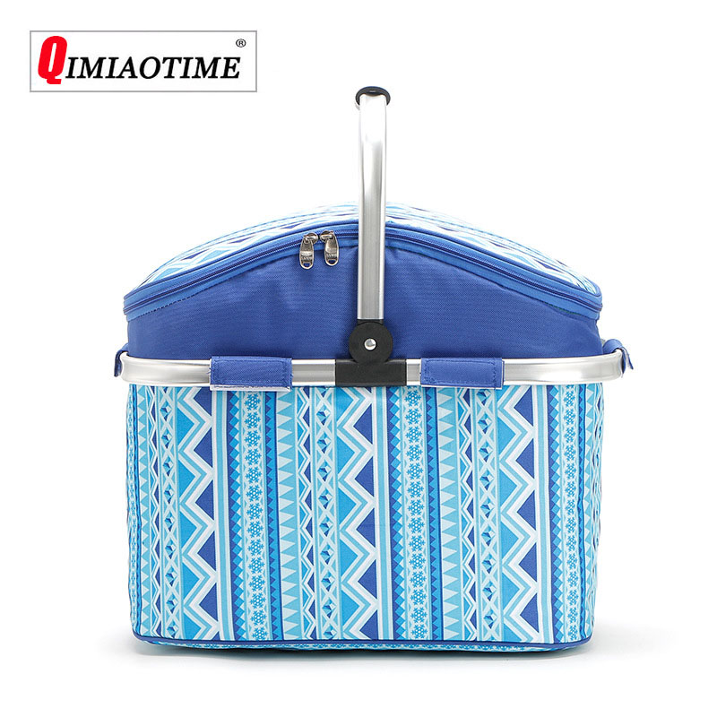 2018 Cooler Bag Outdoor Folding Picnic Basket 26L Portable Insulation Basket Waterproof Oxford Cloth Multi function Picnic Bag
