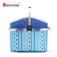 2018 Cooler Bag Outdoor Folding Picnic Basket 26L Portable Insulation Basket Waterproof Oxford Cloth Multi function Picnic Bag