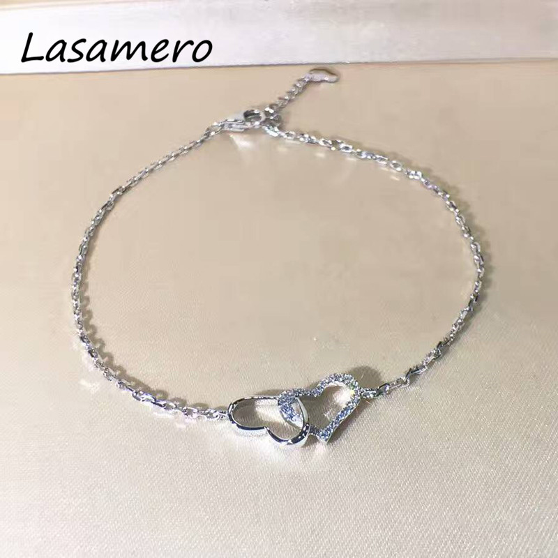 LASAMERO 0.15CTW Luxury Gold Heart Shape Bracelet Natural Diamond Crystal Bracelet 18K Gold Half Circle Diamond Bracelet hot sale red mini r