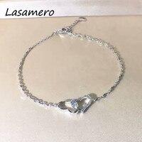 LASAMERO 0 15CTW Luxury Gold Bracelet Natural Diamond Crystal Bracelet 18K Gold Half Circle Diamond Bracelet