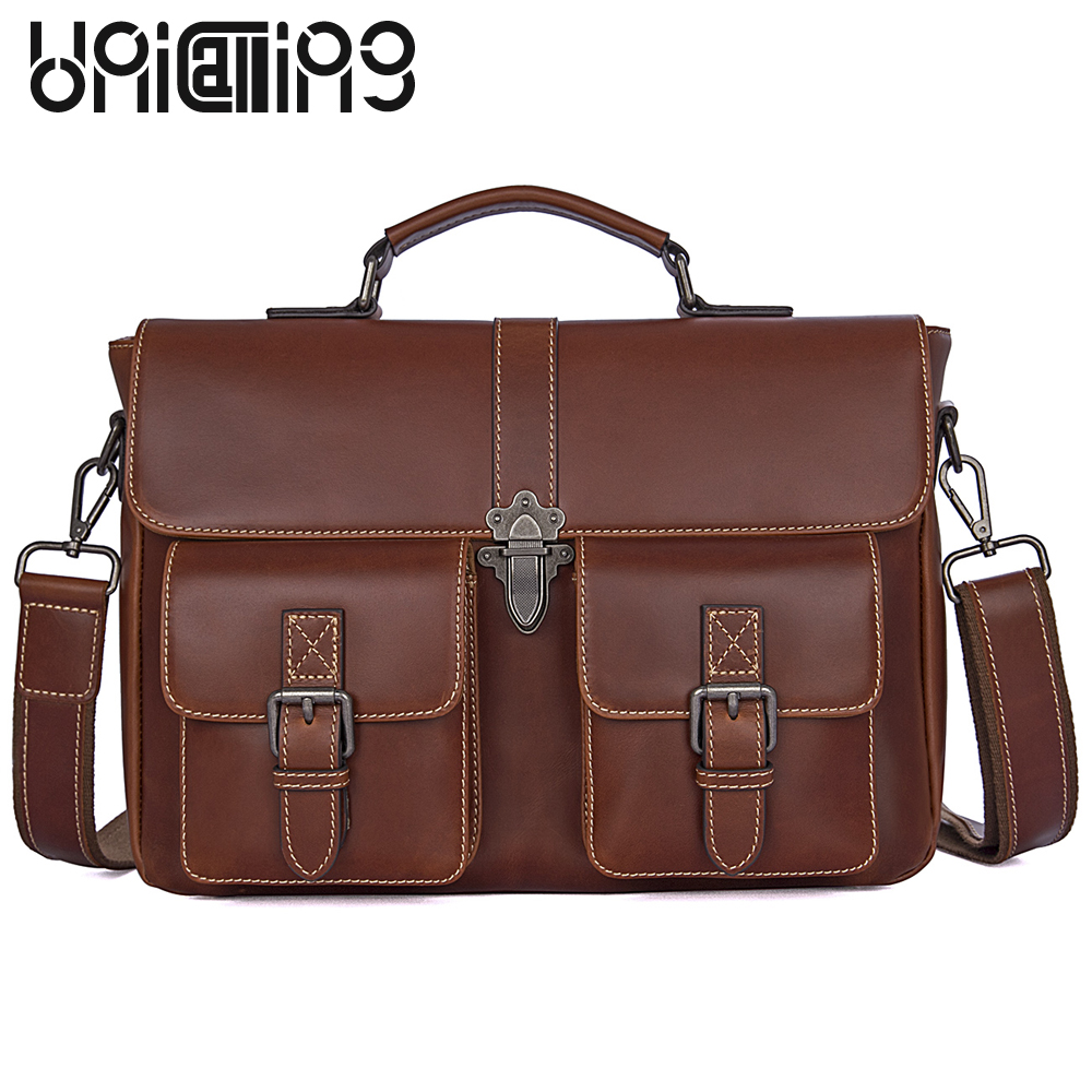 UniCalling Fashion Business briefcase Top grade Genuine Leather men messenger bags Large capacity men handbags hasp big men bag