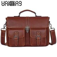 UniCalling Fashion Business briefcase Top grade Genuine Leather men messenger bags Large capacity men handbags hasp big men bag