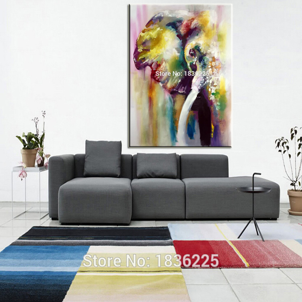 Hot sale Hand-painted modern home decorative abstract canvas oil painting on canvas Colors elephant canvas painting frameless
