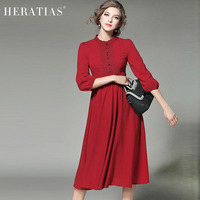 Elegant Lace Panel Chiffon Midi Dress Fashion Casual 3 4 Sleeve Slim Elastic Waist Women Red