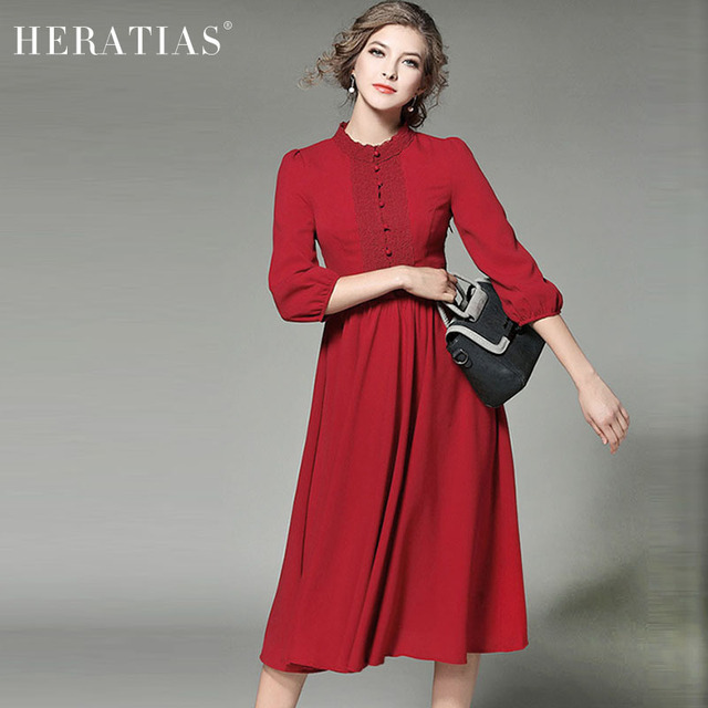 e558276c7266 Elegant Lace Panel Chiffon Midi Dress Fashion Casual 3/4 Sleeve Slim  Elastic Waist Women Red Party A-Line Long Dresses Vestidos