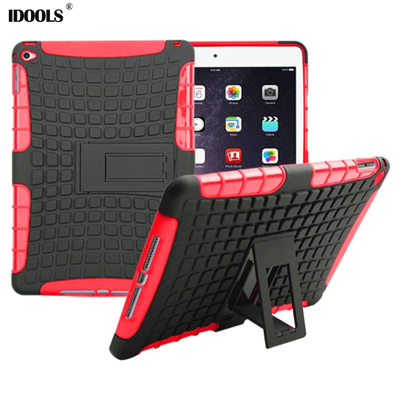 IDOOLS Heavy Duty Impact Hybrid Armor Cover Kick-stand Hard Plastic Case for iPad Air 2 for iPad 6 Cases Cover Coque for amazon 2017 new kindle fire hd 8 armor shockproof hybrid heavy duty protective stand cover case for kindle fire hd8 2017