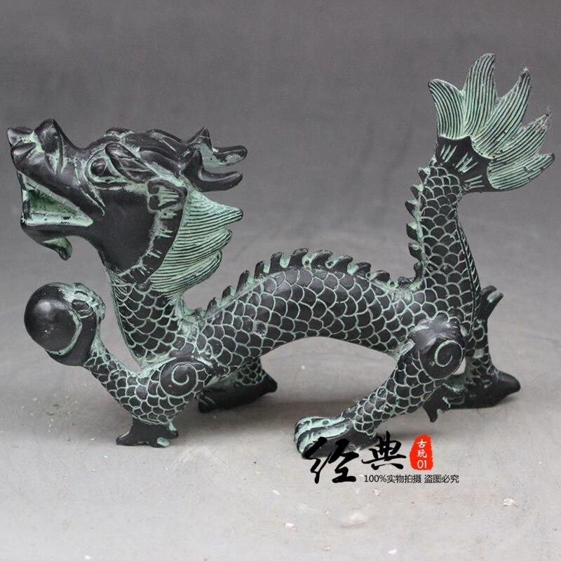Китайский Старый Бронзовый орнамент Дракон Одиночная статуя наху
