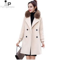 Fur Collar Woolen Coat Women Korean Autumn Winter New High Quality Warm Double Breasted Long Wool Coat Fashion Over Coat Woman