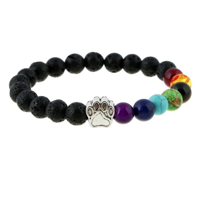 Natural Stone Bead Yoga Bracelet Men Women Dog Paw Elastic Rope Bead Bracelet 7 Chakra Healing Balance Rainbow Bracelet Jewelry 2