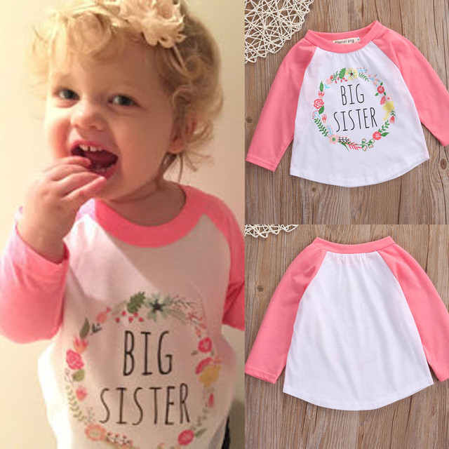 9f77a72f746c Cute Baby Girls T-Shirt Casual Cotton Clothes Summer Wear Flower Letter  Printed Long Sleeve Tops Tee Lovely Outfits 0-5T