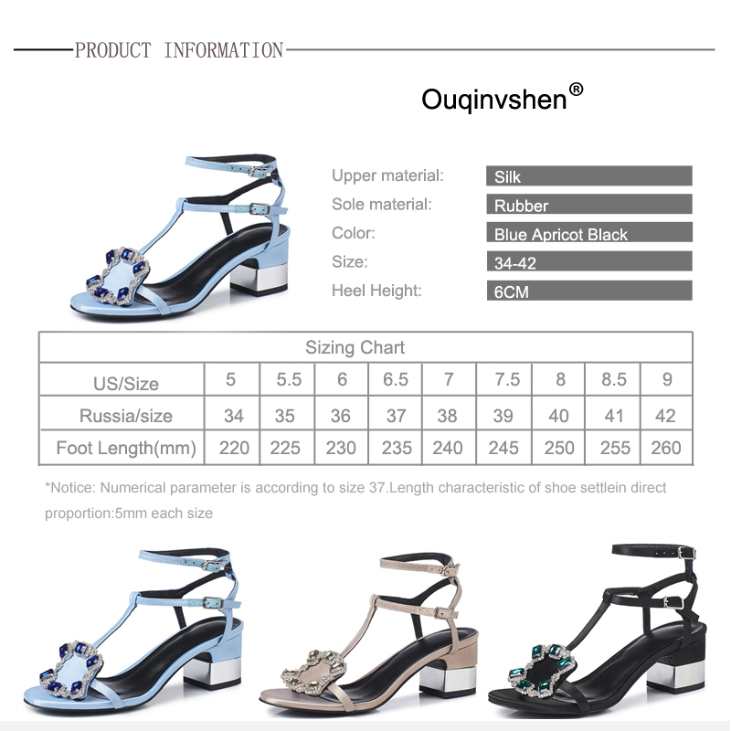 Ouqinvshen Crystal Summer Sandals Black Blue Fashion Square Heel Silk - Zapatos de mujer - foto 6
