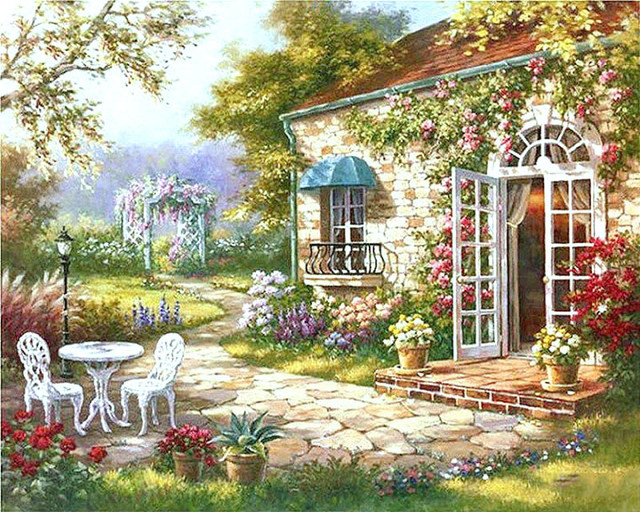 Us 2642 Garten Haus Diy Malen Nach Zahlen Abstrakte Moderne ölgemälde Für Wohnzimmer Kunstwerk 40x50 Cm In Garten Haus Diy Malen Nach Zahlen