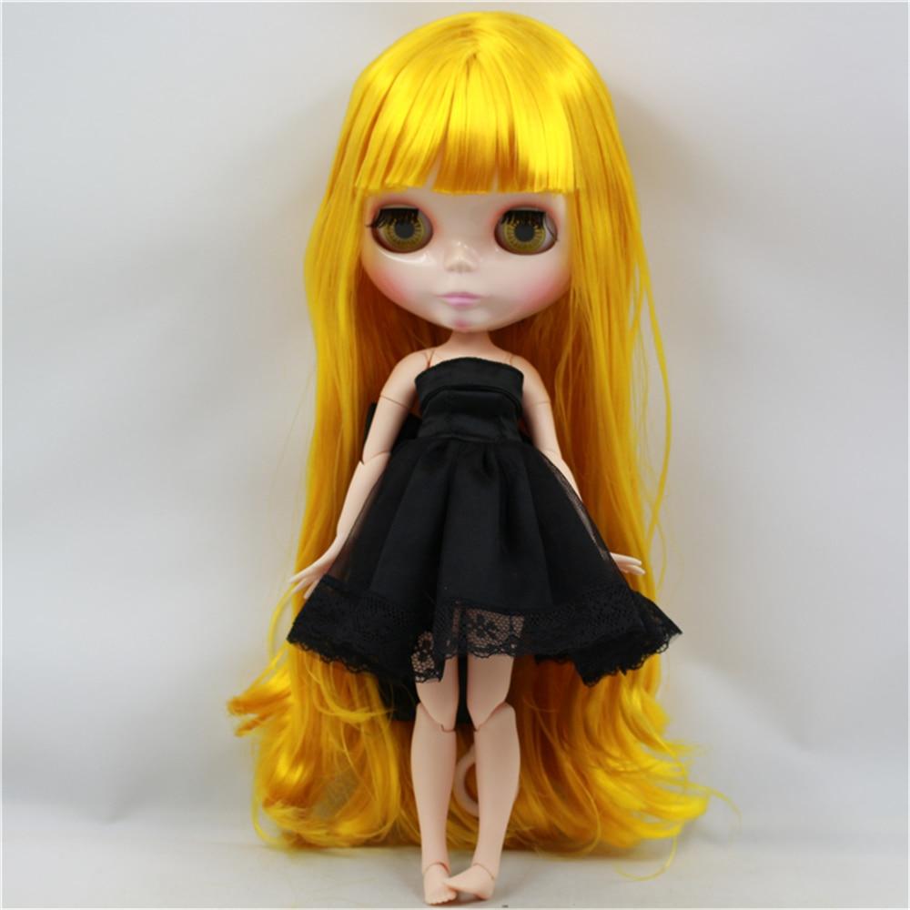 Oyuncaklar ve Hobi Ürünleri'ten Bebekler'de Fabrika Blyth Doll Çıplak Bebek Sarı Uzun Dalgalı Saç/Hiçbir Patlama Makyaj Yüz Ortak Vücut 4 renk Gözler Için Uygun DIY'da  Grup 1