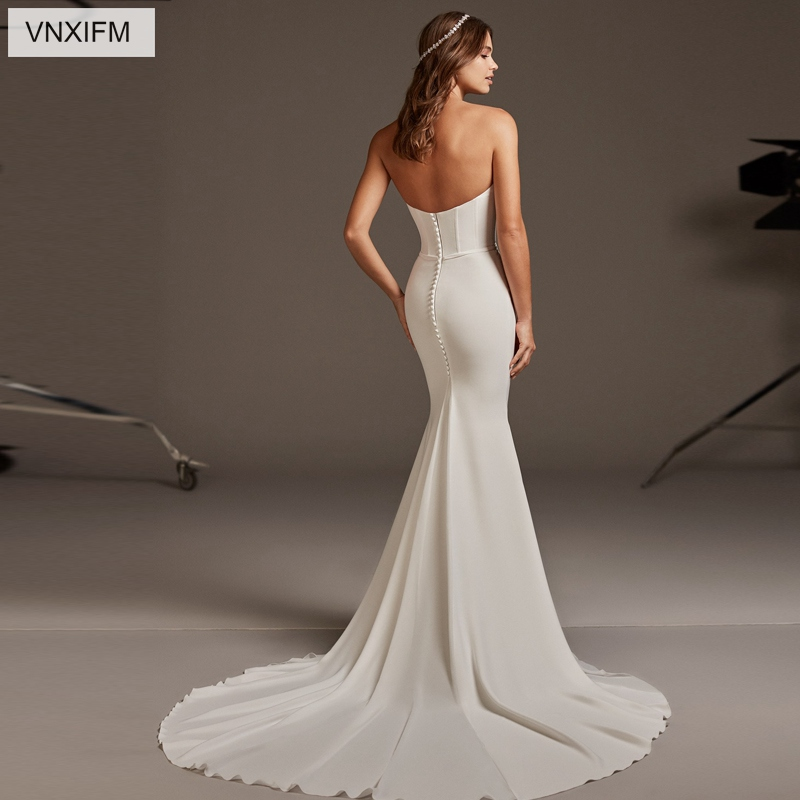 VNXIFM 2019 New Mermaid Wedding Dresses Strapless Appliques Satin Wedding Gowns Backless Bride Dress Sleeveless vestido