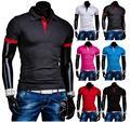 2015 homens moda de rua Hit Color Design selvagem manga curta camisa polo, De manga curta homens exterior 6 cores