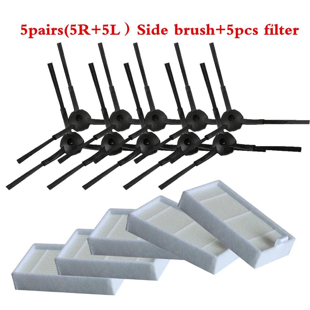 5 пар (5R + 5L) боковая щетка для панда x500, Gutrend JOY90/FUN 110, ECOVACS CR120/CEN540 + HEPA х 5 шт