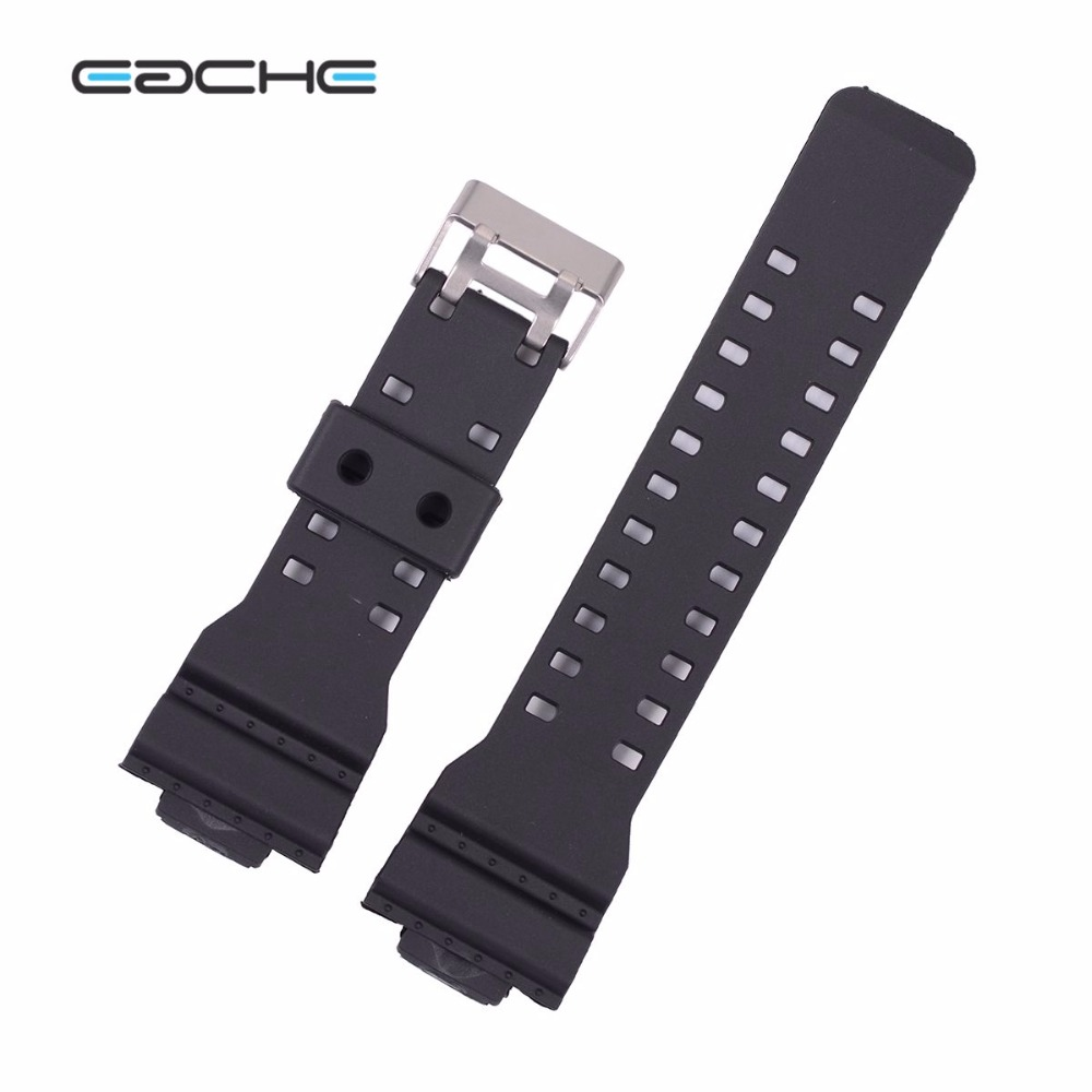 EACHE  Black White 16mm Replacement Watch band fit for g-shock silicone watchbands waterproof straps with silver buckle eache silicone watch band strap replacement watch band can fit for swatch 17mm 19mm men women