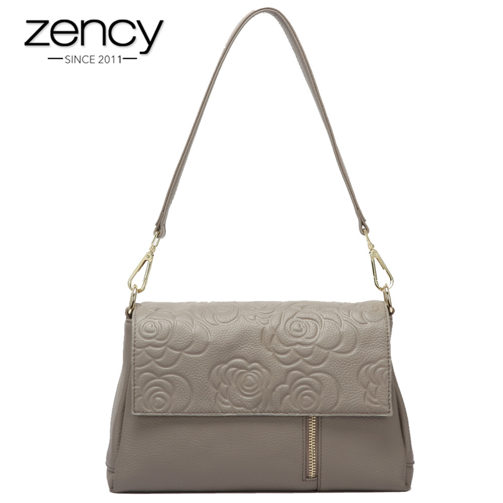 Zency 100 Genuine Leather Women Shoulder Bag Flower Pattern Black Crossbody Messenger Purse Fashion Lady Tote