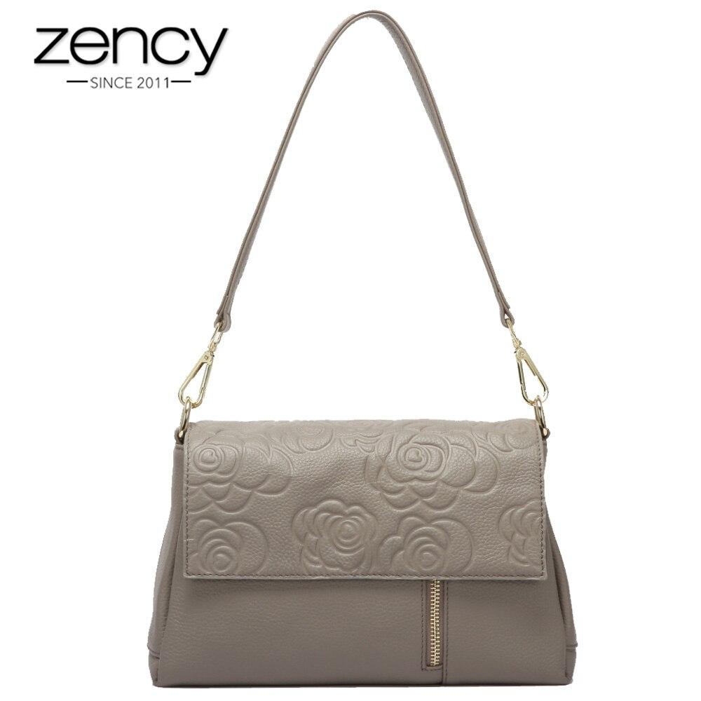 Zency 100% 정품 가죽 여성 숄더 백 플라워 패턴 블랙 크로스 바디 메신저 지갑 패션 레이디 토트 백 고품질-에서숄더 백부터 수화물 & 가방 의  그룹 1