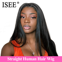 Malaysian Straight Lace Front Human Hair Wigs With Pre Plucked Hairline 150% / 180% Density ISEE HAIR Straight Lace Front Wig