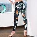 Nuevas Mujeres Atractivas de Las Polainas de Impresión Negro Mesh Empalme Fuerte Aptitud Delgado Leggings Pantalones de Entrenamiento Ropa Femenina Ropa Mujer