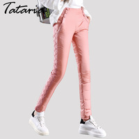 Thick double sided outer wear Duck down pants female trousers lace Slim thin thick new winter plus velvet pants women tataria