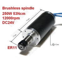 250W Brushless Spindle 53Ncm 12000rpm DC 24V 42mm Motor ER11 Collets for Drilling Milling Carving Metal Plastic Wood Working