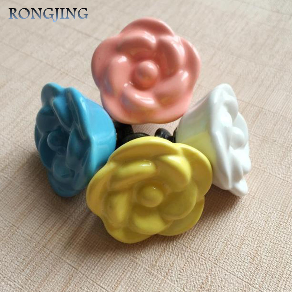 Rose Ceramic Cabinet Drawer Knobs Porcelain Kids Wardrobe Handles Furniture Dresser Closet Cupboard Rural Vintage Cabinet Pulls