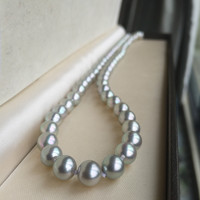 Women Gift word 925 Sterling real Japan Akoya natural gray pearl necklace round slightly 11 12 mm long 42 44cm bts