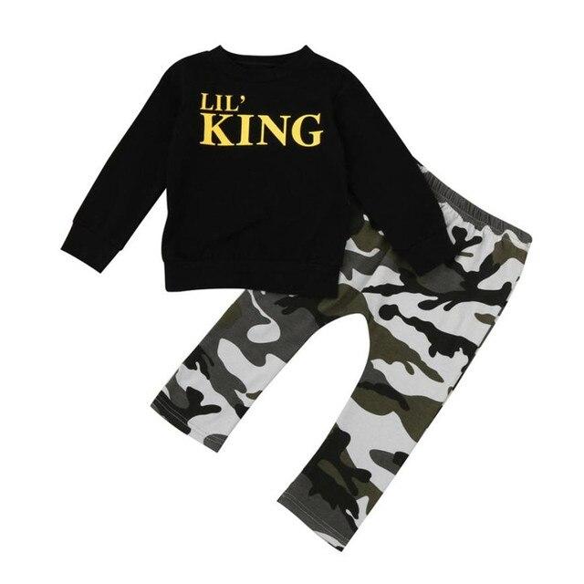 5b27f2f2da Color Negro niño niños bebé niño carta T camisa Tops + Pantalones de  camuflaje ropa conjunto