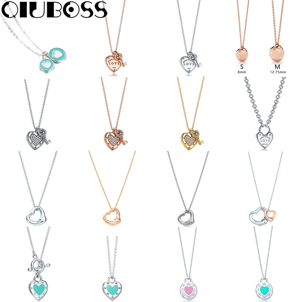 QIUBOSS TIFF 925 Sterling Silver Heart Pendant Necklace Rose Gold Green 18K Gold Clavicle Chain Original Women DIY Gift yoursfs elegant union of hearts shape 18k rose gold plated use crystal rhinestone heart pendant necklace perfect gift for women