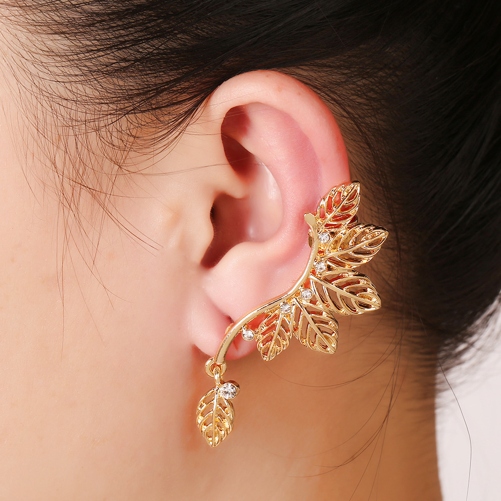 Korean Olive Leaf Ear Cuff Clip On Earrings One Piece Exaggerated Earring Cuffs For Women Punk Gothic Jewelry In From Accessories