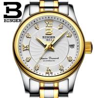 Genuine Luxury Switzerland BINGER Women automatic mechanical self wind diamond sapphire watch fashion business female waterproof