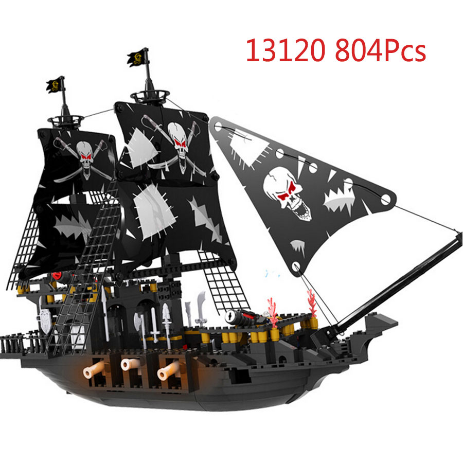 COGO Blocks Toys 13120 807Pcs Pirate series Caribbean Pirate Black Pearl Ship Ghost Ship Building Block Brick Toy For Kids lepin 22001 pirate ship imperial warships model building block briks toys gift 1717pcs compatible legoed 10210