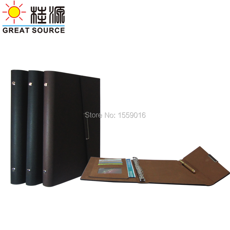 great source leather document folder folding cover ring binder for