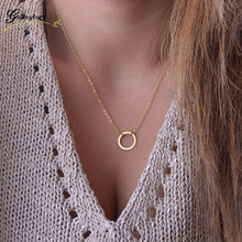 1Pcs Classic Circle Shape Pendants Necklaces Collares Minimalist Jewelry Dainty Women Girl Necklace Gift Bijoux Chain Necklace