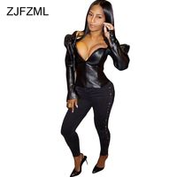 ZJFZML Women High Quality PU Leather Jacket Ladies Sexy Puff Sleeve Deep V Neck Sheath Top