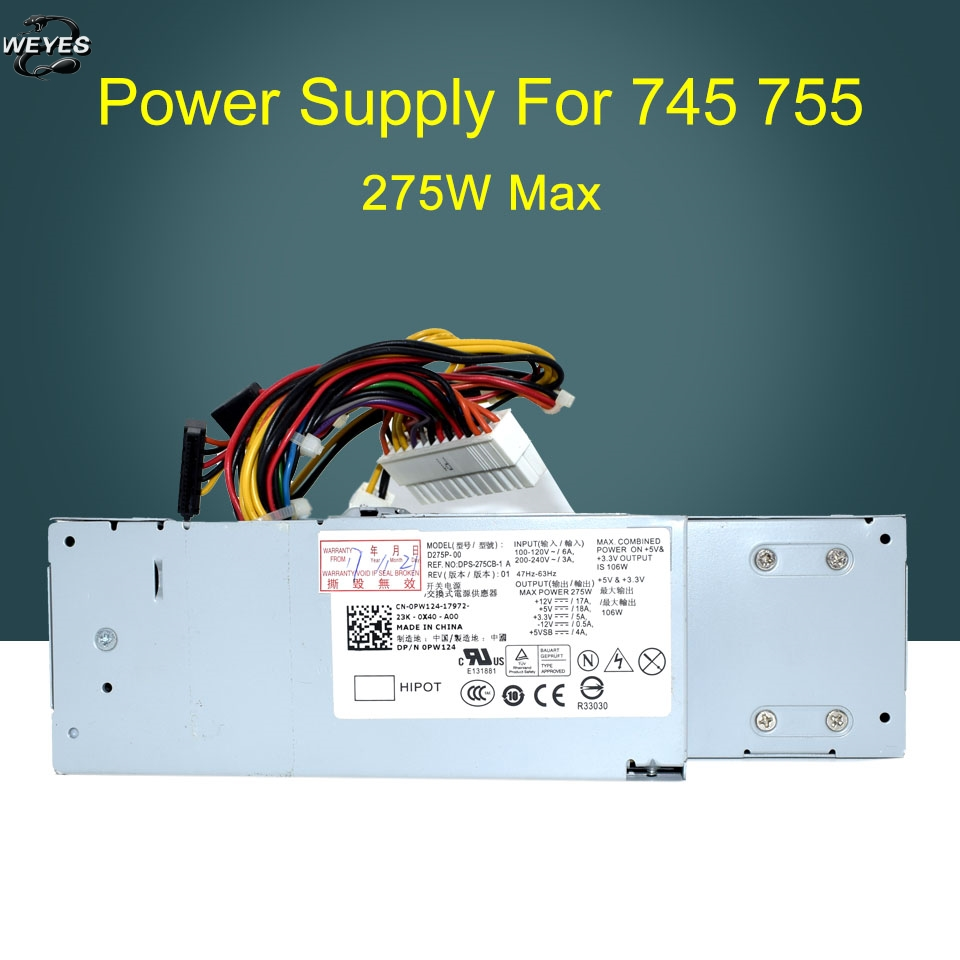 0RM117 0PW124 D275P-00 H275P-01 for Optiplex 740 745 755 275W Power Supply k345r 305w power supply for dell optiplex 980 f305p 00