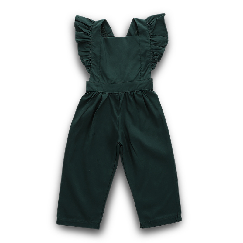 Baby Girl   Romper   Baby Overalls Flutter Sleeve Backless   Rompers   Girls   Rompers   Jumpsuit Baby Girl Summer Clothes Dark Green